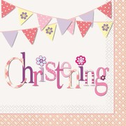 Pink Christening Girl 2 Ply Lunch Napkins Pk 16