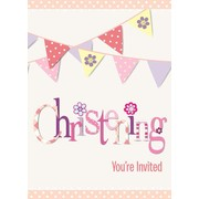 Pink Christening Girl Invitations Pk 8