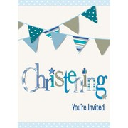 Blue Christening Boy Invitations Pk 8