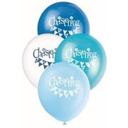 Christening Boy 30cm Latex Balloons Pk 8