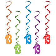 Number 13 Assorted Hanging Birthday Whirl Decorations (91cm) Pk 5