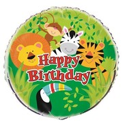 Happy Birthday Animal Jungle Party 18in. Foil Balloon Pk 1