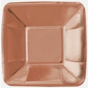 Small Rose Gold Foil 5in. Square Paper Plates Pk 8
