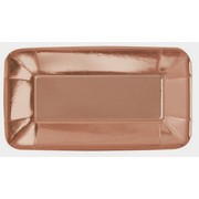 Rose Gold Rectangular 9in. x 5in. Foil Paper Plates Pk 8