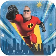 Incredibles 2 Themed 7in. Square Paper Plates Pk 8