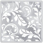 Metallic Silver and White Elegant Scroll Square 7in Lunch Plate Pk 8
