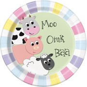 Pastel Farm Animals 9in. Paper Plates Pk 8