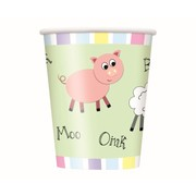 Pastel Farm Animals 9oz. Paper Cups Pk 8