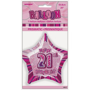 20in Glitz Pink & Silver Star 21 Foil Balloon Pk 1