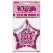 20in Glitz Pink & Silver Star 30 Foil Balloon Pk 1