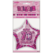 20in Glitz Pink & Silver Star 70 Foil Balloon Pk 1