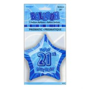 20in (50.8cm) Glitz Blue and Silver Star 21 Foil Balloon Pk1