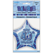 20in Glitz Blue & Silver Star 40 Foil Balloon Pk 1