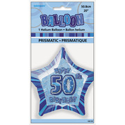 20in Glitz Blue & Silver Star 50 Foil Balloon Pk 1