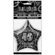 20in Glitz Black & Silver Star 40 Foil Balloon Pk 1