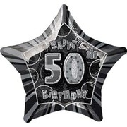 20in Glitz Black & Silver Star 50 Foil Balloon Pk 1