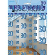 Glitz Blue 30th Hanging Decorations Pk 6