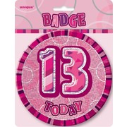 13 Today Glitz Pink Large Birthday Badge Pk 1