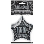 20in Glitz Black & Silver Star 100 Foil Balloon Pk 1