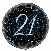 Black & Blue Glitz 21 Foil Balloon (18in.) Pk 1