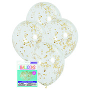Clear 12in Latex Balloons with Gold Confetti Pk 6