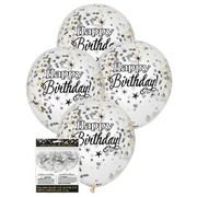 Clear 12in Happy Birthday Latex Balloons with Black, Silver & Gold Confetti Pk 6