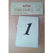 White and Black Numbered Table Place Cards (10.5cm) Pk 12