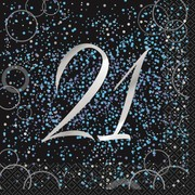 Black & Blue Glitz 21 2 Ply Lunch Napkins Pk 16