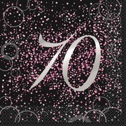 Black & Pink Glitz 70 2 Ply Lunch Napkins Pk 16