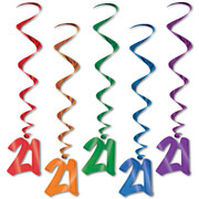 21 Multi Hanging Birthday Whirl Decorations (102cm) Pk 5