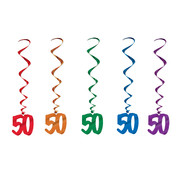 50 Multi Hanging Birthday Whirl Decorations (102cm) Pk 5