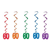 60 Multi Hanging Birthday Whirl Decorations (91cm) Pk 5