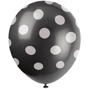 Black & White Polka Dot Latex Balloons (12in) Pk 6