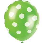 Lime Green & White Polka Dot Latex Balloons (12in) Pk 6