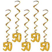 50 Gold Hanging Birthday Whirl Decorations (91cm) Pk 5