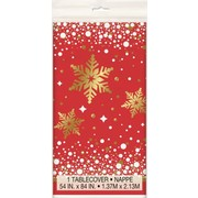 Christmas Gold & Red Sparkle Plastic Tablecover (1.37m x 2.13m) Pk 1