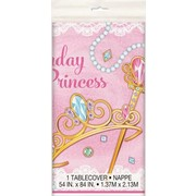 Birthday Princess Pink Plastic Tablecover (137cm x 213cm) Pk 1
