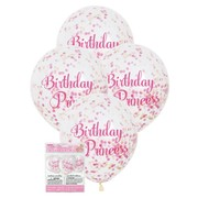 Birthday Princess 12in. Latex Balloons with Pink & Gold Confetti Pk 6