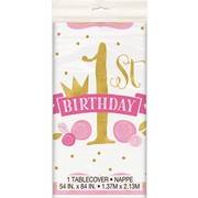 1st Birthday Pink & Gold Plastic Tablecover (1.37m x 2.13m) Pk 1