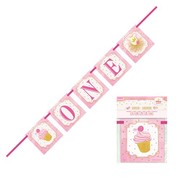 1st Birthday Pink & Gold 'One' Banner (1.21m) Pk 1