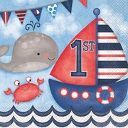 1st Birthday Nautical 2 Ply Lunch Napkins Pk 16