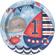 1st Birthday Nautical 9in. Paper Plates Pk 8