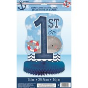 1st Birthday Nautical 14in. Honeycomb Centrepiece Decoration Pk 1