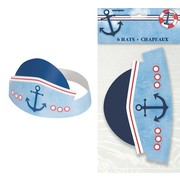1st Birthday Nautical Party Hats Pk 6