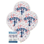Clear 12in 1st Birthday Latex Balloons with Blue & Red Confetti Pk 6