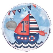 Happy 1st Birthday Nautical 18in. Foil Balloon Pk 1