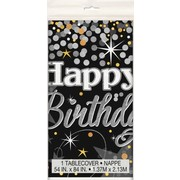 Glittering Style Happy Birthday Plastic Tablecover (1.37m x 2.13m) Pk 1