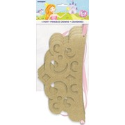 Magical Princess Gold Glittered Cardboard Party Crowns Pk 4