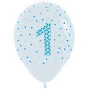 1st Birthday One Geometric White & Blue Latex Balloons Pk 10