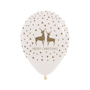 Crystal Clear Merry Christmas Reindeer Latex Balloons Pk 10
